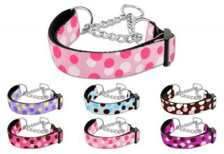 Dog Pet Puppy Confetti Choker Martingale Nylon Collar Limited Slip Safety Leash