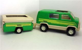 Vintage Tonka Truck RV Camping Van Pop Up camper Trailer Green