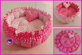Handmade Pet Dog Cat Pet Bed with Ruffles 100 PP Cotton 1 Heart Shape Pillow