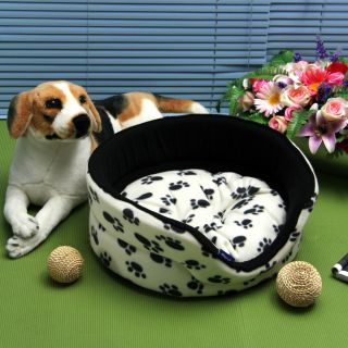 Pet Dog Puppy Cat Soft Paw Print Warm Bed Kennel House Cozy Nest Mat Pad Cushion