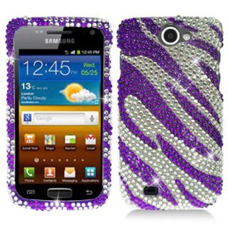 Purple Zebra Bling Hard Case Cover Samsung Galaxy Exhibit II 2 4G T679 Accessory