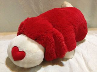 Full Size Red Heart Pillow Pets Puppy Dog Valentine's Day Excellent Used Cond