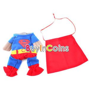 Blue Red Puppy Pet Dog Clothes Costumes Superman Apparel T Shirt Suit Size XS