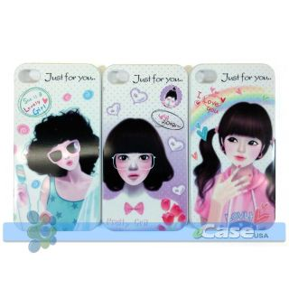 Lovely Cartoon Fashion Teen Beauty Pretty Girls Snap Case Cover at T iPhone 4