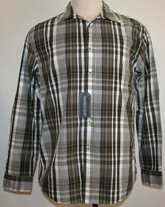 Threads Heirs Mens Black Plaid Shirt Large $50 Button Down New Casual