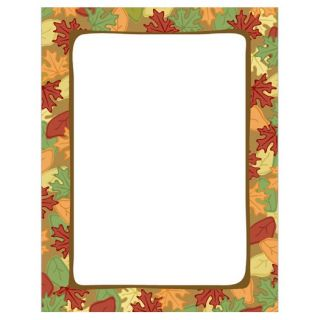 Artistic Fall Leaves Border Thanksgiving Fall Autumn Stationery Printer Paper