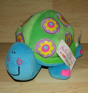 Animal Alley Happy House Turtle Blue Green Flowers Plush Baby Toy Lovey New