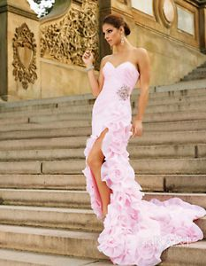 Hot Sale Pink Sleeveless Organza Prom Dress Flower Skirt Formal Gowns Party Ball
