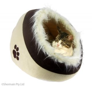 Cat Cave Igloo Bed Brown Fur Kitten Snuggle Pet Pad Warm Fur Dog House 40cm New
