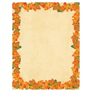 Painted Maple Fall Leaves Border Thanksgiving Autumn Stationery Printer Paper