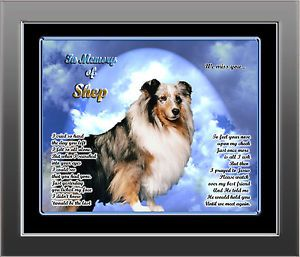 Pet Memorial Collie Sheltie Personalized w Dog's Name Heaven Poem Unique Gift