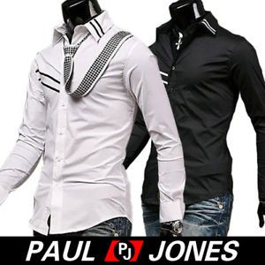 P J Men Casual Shirt Slim Fit Fashion Style Blk WTE DS0