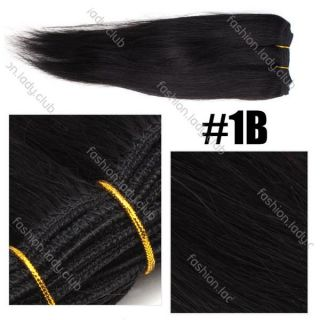 50g 1B Natural Black 100 Real Human Hair Straight Weaving Weft Extensions 10""