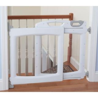 The First Years Plastic Baby Pet Safety Gate Room Door Divider Clear White
