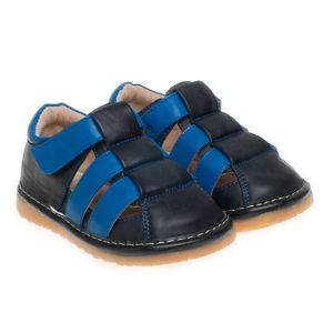Boy's Children's Infant Toddler Kids Leather Squeaky Shoe Sandals 'Ben' Navy