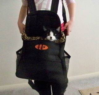 Ritzy Paw Small Pet Dog Puppy Cat Carrier Backpack Front Carrying Tote Black New