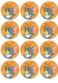 12 Tom and Jerry Edible Icing Cupcake Topper Image Cake