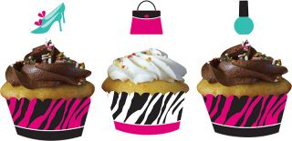 Pink Zebra Boutique Cupcake Wrappers w Topper Sleepover Birthday Party Supplies