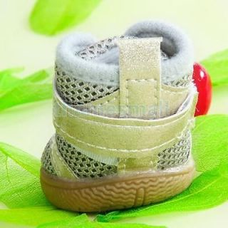 Gray Golden Pet Dog Puppy PU Leather Mesh Anti Slip Shoes Boots Paws Cover 4