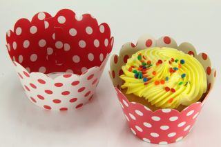24x Reversible Cupcake Wrappers Wrap Liners Minnie Mousse Red White Polka Dot