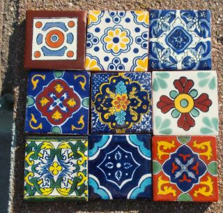 "9 Mexican Talavera Pottery 2"" Clay Tile Hand Painted Wall Folk Art Venice CD"