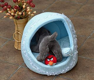 Princess Pet Dog Cat House Bed Kennel Pink Blue Large