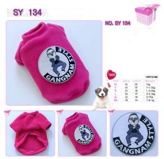 Dog Clothes Cat Dress Costume Pet Apperal Gangnam Style KPOP Psy Oppa Shirt 134