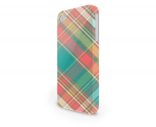 Teal Pink Large Plaid Hard Cover Case for iPhone Android 65 Other Phones