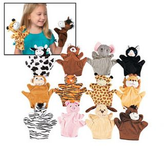 1 PK 12 Safari Domestic Animal Hand Puppets Plush Velour Lions Tigers Bears