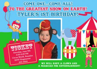Carnival Circus Clown Magician Birthday Invitations