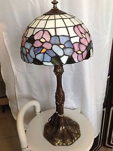 Vintage Neo Classical Antique Tiffany Style Stain Glass Lamp