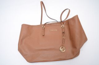 Michael Kors Jet Set Travel Brown Saffiano Leather Tote Purse Bag $278 GNX356