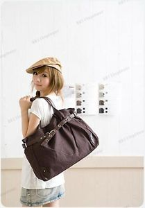 Korean Style Fashion Cute Girl Casual Canvas Bag Shopper Boat Tote Bag Coffee