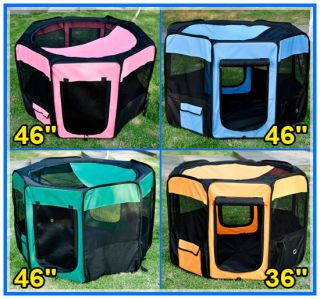 "Pawhut 46"" 36"" Soft Folding Pet Playpen Dog Exercise Pen Fence Cage Kennel Crate"