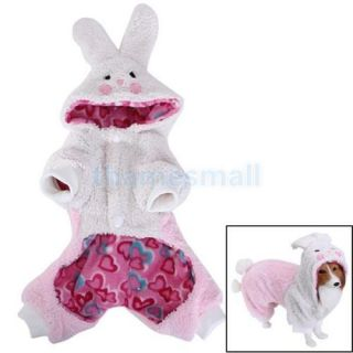2X Pet Dog Coat Jumpsuit Velveteen Rabbit Hoodie Hooded Costume Outfit Size XS