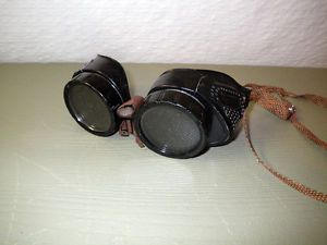 Vintage WWII Era Welding Steampunk Goggles Glasses Industrial