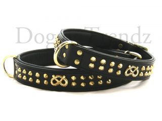 Staff STAFFY Staffie Staffordshire Leather Dog Collar Knot Studded Soft Padded