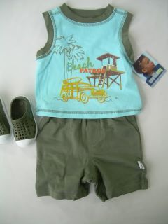 New Boys 12 18 24 MO Summer Clothes Outfit Sets Tank Top Shirt Pull on Shorts