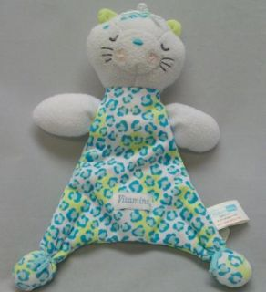 Vitamins Baby Kitty Cat Leopard Print Blue White Security Blanket Plush Lovey