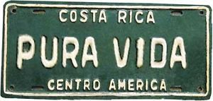 Pura Vida Costa Rica License Plate Vintage Style Travel Sticker Decal