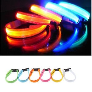 LED Flashing Light Dog Collar Night Safety Adjustable Pet Cat Dog
