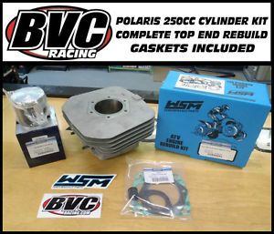 Polaris 250cc Engine Cylinder Kit Complete Top End Rebuild Piston Kit Gaskets 2