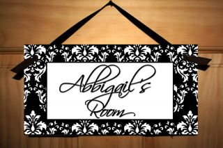 Black White Damask Girls Bedroom Nursery Door Sign