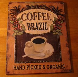 Coffee Brazil Primitive Vintage Style Cafe Shop Decor Embossed Wall Plaque Sign