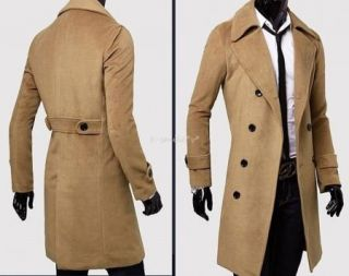 Mens Stylish Double Breasted Trench Coats Long Jackets Top Overcoat Peacoat