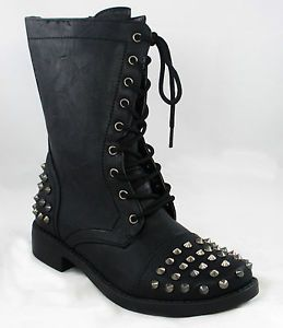 Ladies Spike Studs Military Combat Lace Up Ankle Boot Shoes Black 5 5 10 New