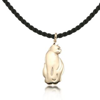 New Stunning 14k Gold Cat Pendant with Green Fancy Color Diamond Eyes Charm
