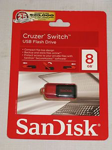 SanDisk Cruzer Switch 8GB USB 2 0 Flash Drive Compact Flip Top New
