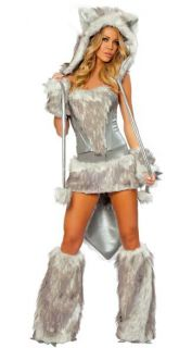 5 Piece Faux Fur Sexy Wolf Big Cat Halloween Adult Women Costume One Size $229