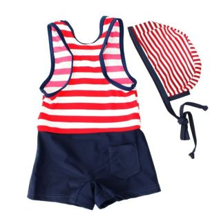 Baby Kids Boy Girl Cute Beach Swimwear Swimsuit Swimming Costume Hat Age 6M 5yrs